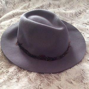 Vintage gray wool fedora hat with feather trim